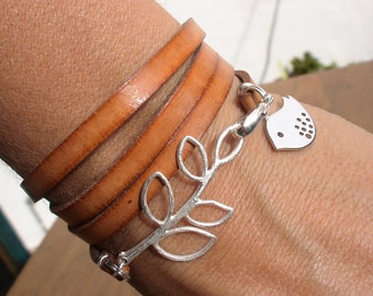 bird bracelet, leaf bracelet, wrap bracelet, nature inspired, womens bracelets, distinctive bracelet, leather bracelet, charm Bracelet