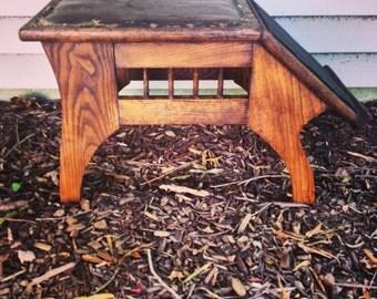 Shoe Salesman's Bench / Oak Arts And Crafts Stool / Industrial Stool / All Original
