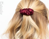 Burgundy dark red fabric small french barrette hair clip