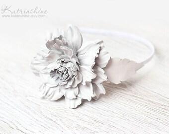 White Leather flower headband, leather fascinator, Floral Headband, Hair Accessory, Coachella Flower, prom flower, wedding flower, boho