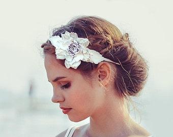 White leather flower headband fascinator wedding boho