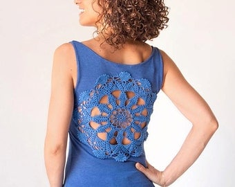 Blue Tank Top with upcycled vintage crochet doily back - Size S