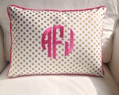 Monogrammed Gold Dot Pillow Cover