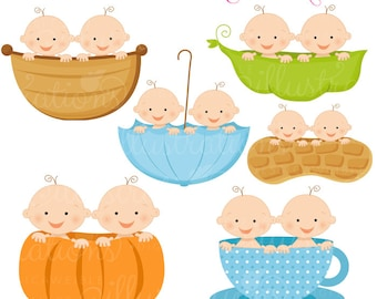 Twin Boy Baby in A Cute Digital Clipart -Twins in Peapod, Twins in Teacup, Twins in Umbrella, Twins in Peanut, Twins in Pumpkin