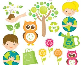 Think Green Cute Digital Clipart - Commercial Use OK - Earth Day Graphics, Save the Planet Clipart, Environment Clipart