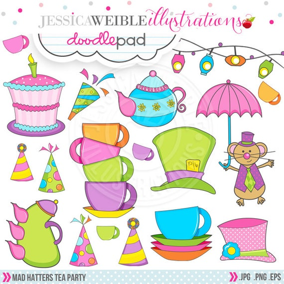 Mad Hatter S Tea Party Cute Digital Clipart Commercial
