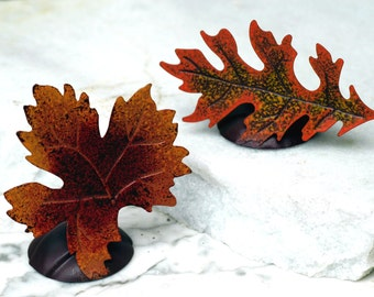 Sample - Maple Oak Leaf Place card Holders - Rustic Wedding Shabby Chic Wedding Decor Photo Prop