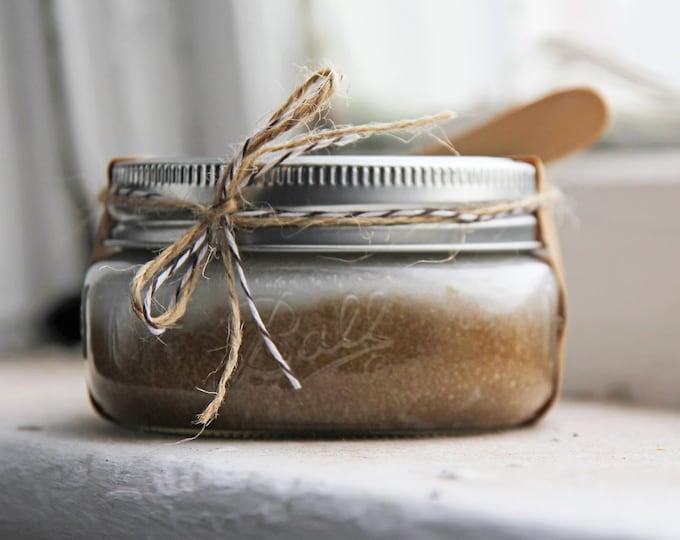 Coconut and Brown Sugar Scrub 8oz in Ball Jar | Luxury Hand Scrub, Body Scrub, Exfoliating Scrub, Wedding gift, Bridesmaid Gift, Home Decor