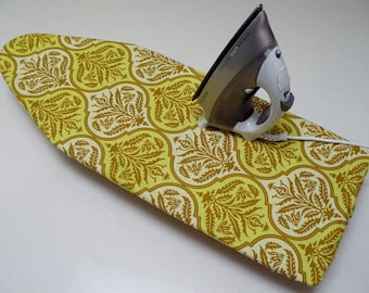 Ironing Board Cover TABLE TOP - damask pale lime green and beige