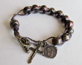 Catholic Rosary Bracelet and Sacrifice Beads in Bronze