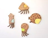 CLEARANCE SALE! Happy ocean creatures  - Wooden Magnets (Set of 4)