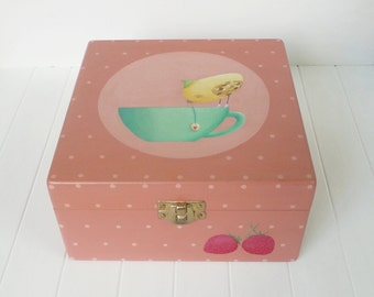 CLEARANCE SALE! Hand Painted Tea Box - Yellow bird on a cup