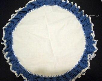 Blue and White Lace Doily Crochet, Delicate, Elegant Overlay, Lavender, Ruffled Ruffles