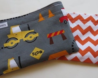 Reusable Snack Bag Set of Two Eco Friendly Construction Orange Chevron