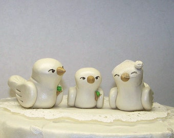 Lovebirds with Baby Boy Bird Wedding Cake Topper - Trio Nuzzling Family - Fully Customizable - Choice of Colors