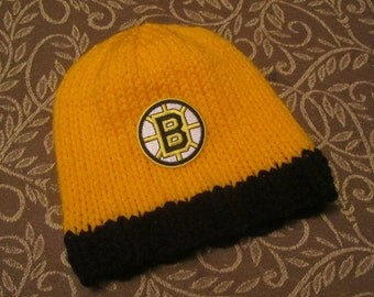 BOSTON BRUINS Hand Knit Baby Hat - Boston Baby Hat - Hand Knitted Baby Hat