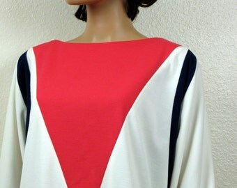 Vintage Knit Color Block Sheath Dress size 16 Large