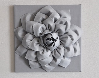 Silver Gray Wall Flower Wall Hanging, Nursery Art, Baby Art, Wall Decor, Holiday Decor, Holiday Wall Art, Christmas, Gray Nursery