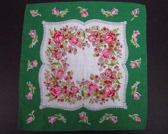Vintage Handkerchief Tulips/Green/Red (vh111)