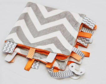 Baby Ribbon Tag Blanket - Minky Binky Blankie - Grey and White Chevron with Orange