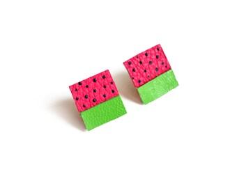 Fruit Square Stud Earrings, Geometric Earrings, Pink Watermelon Polka Dot Pattern Jewelry