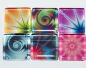 Swirl Magnets - Set of 6 Square Glass Magnets in Assorted Vibrant Colors (S1)