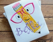Pencil Glasses applique embroidery design