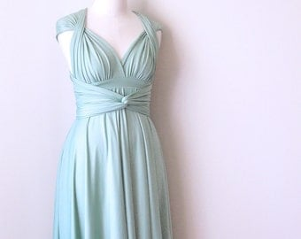 Sample Sale - Knee Length Convertible/Infinity Dress in Light Sage - Size XS/S