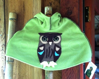 Hoodie Poncho with Brown Owl Applique in Fleece (you choose color and size) XS / S