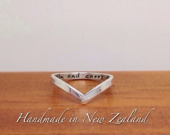 Chevron personalized ring, custom made hand stamped chevron ring in sterling silver