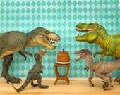 T. rex dinosaur birthday party art for kids - Raging Party
