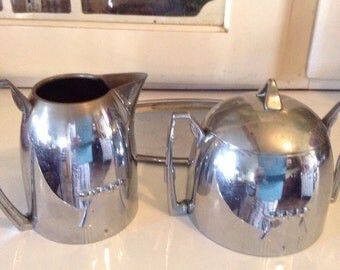 Art Deco Chrome Cream and Sugar Set