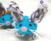 Bright Turquoise Wool Bunny, Needle Felted Animal Pocket Pet for Easter, Spring Waldorf Style Child's toy, Pedro's Felty Toys for Charity