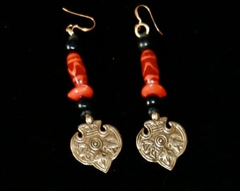 African Ceramic Bead with Bronze Charms Earrings