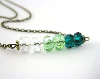 Long Beaded Necklace - Emerald Necklace - Lime Green Jewelry - Emerald Green Necklace - Crystal Jewelry Ombre Necklace - Beaded Bar Necklace