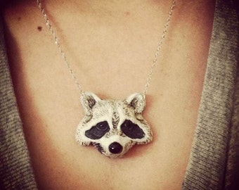 Raccoon Necklace - Animal Pendant Necklace - Ploymer Clay Jewelry - Polymer Clay Necklace