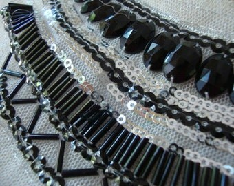 White Tulle Beaded Neckline Applique Embellishment Necklace  Black Beads Silver Sequins White Dress Bridal Lace Collar S118