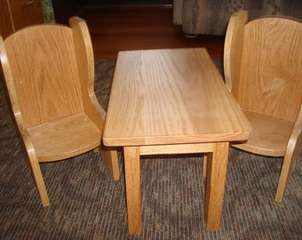 Oak Doll Table and Chairs (Fits American Girl Doll and 18 inch Dolls)