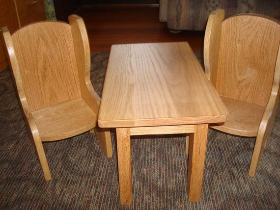 oak doll table and chairs fits american girl doll and 18 inch. Black Bedroom Furniture Sets. Home Design Ideas