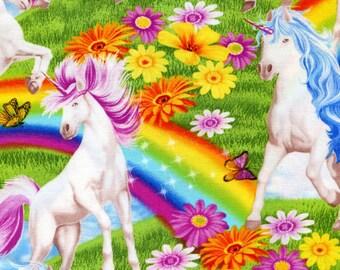 Unicorns and Rainbows - Timeless Treasures - 1 yard -  Last Available