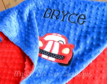 Personalized baby blanket- cobalt blue and red race car- stroller blanket