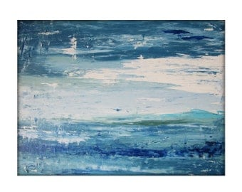 Abstract Seascape Original Painting on Canvas Contemporary/Modern Painting  - 30x40 - Blue-Greens, Baby blue, and more