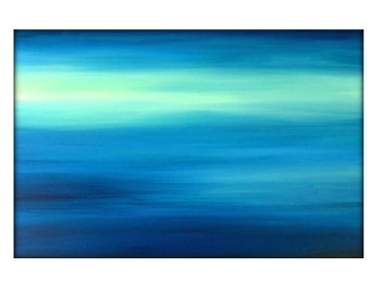 Large Original Abstract Seascape Canvas Contemporary/Modern Painting  - 24x36 - Blue-Greens, Baby blue, and more