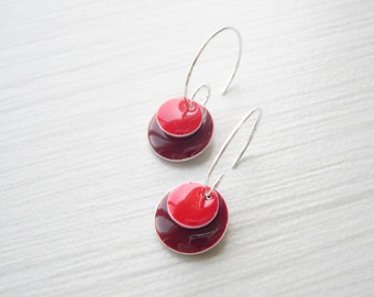 Red Earrings - Enamel Jewelry, Silver Hoops, Red, Maroon, Wine, Geometric, Contemporary, Modern