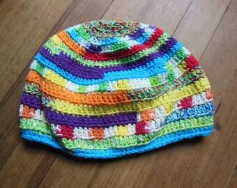 PLUR 100% Cotton Slouch Tam Beanie VaGaBoNd pRiNcEsS Rainbow Dreadlock Friendly Hat Fairy Elf
