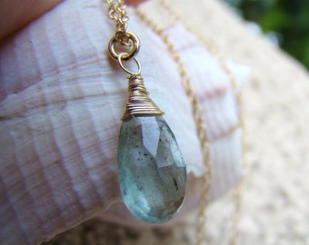 Moss Aquamarine Necklace - Sterling Silver, Gold fill, Rose Gold Fill, Tarnished Silver