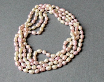 """Freshwater Pearl Necklace Pink and White 32"""""""
