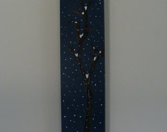 THE TIMBERS Winter tree acrylic painting on wood with hanger