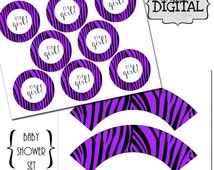 Purple and Black Zebra It's A Girl Cupcake Wrapper and Toppers Set, Baby Shower Cupcake Wrappers, Zebra Theme Party Cupcake Wrappers Toppers