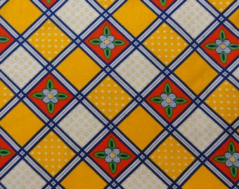 Vintage Floral Checkerboard Fabric- Yellow, Blue, Red, Green, and White- Cotton--17 x 44 Inches